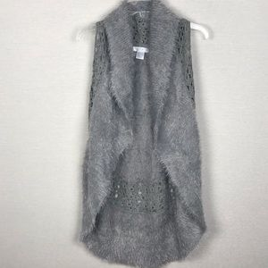 Solitaire Gray Soft Fuzzy Long Sweater Vest Large